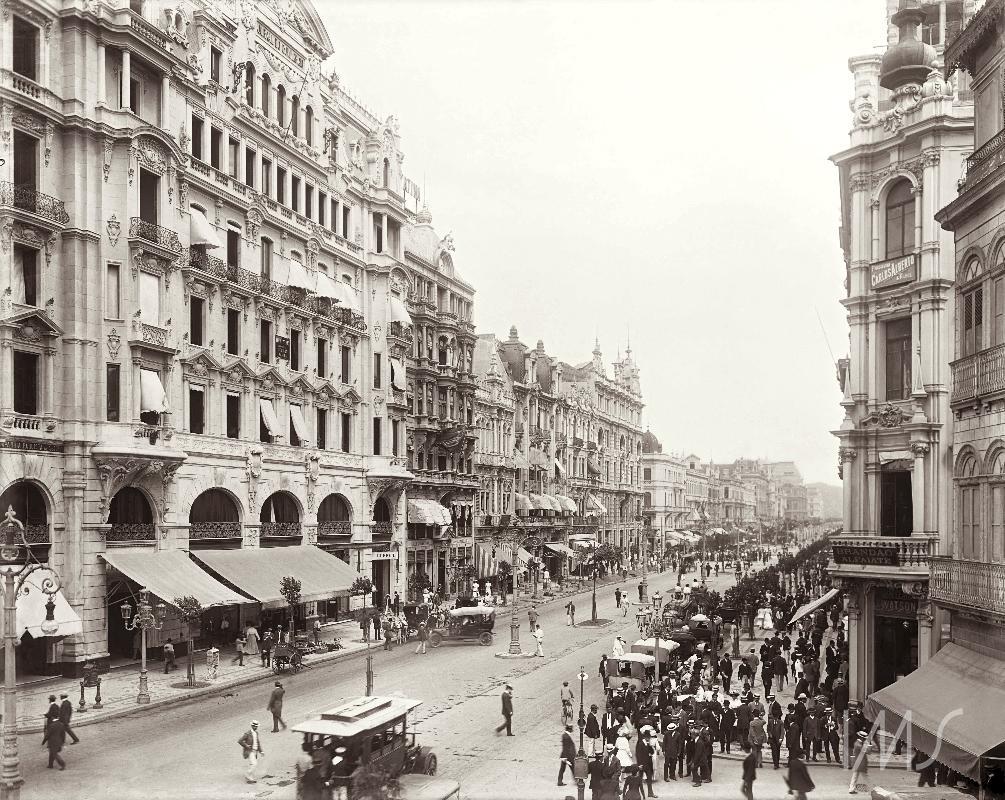 Av Rio Branco - 1906 - Rua do Ouvidor com rua Miguel Couto