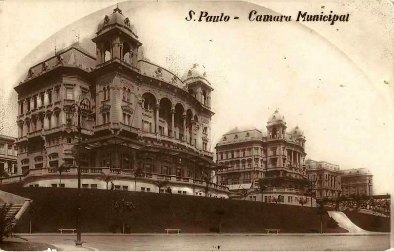 Palacetes Prates - Vale do Anhangabaú e a Antiga Câmara Municipal de São Paulo - 1910