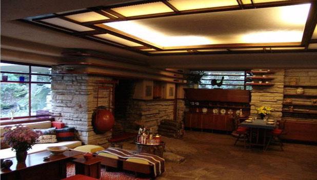 Interior da Casa da Cascata - Fallingwater - Frank Lloyd Wright